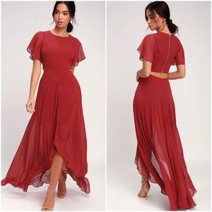 BOHEMIAN RHAPSODY BRICK RED CUTOUT MAXI DRESS